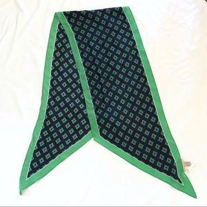 NWT Banana Republic navy and green 100% silk scarf